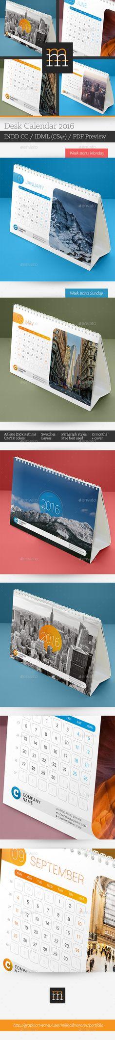 Desk Calendar 2016 Template InDesign INDD #design Download…