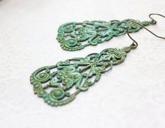 Hey, I found this really awesome Etsy listing at https://www.etsy.com/listing/208831830/verdigris-filigree-earrings-lacey-brass