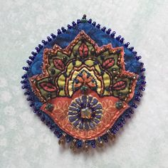 Stitched Fabric Brooch with Beads by creativecaravan on Etsy