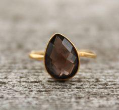 SALE  Gold Smokey Quartz Ring  Teardrop  Stacking Ring by OhKuol, $50.00