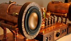 Steampunk amplifier now complete with boiler speakers is geek's dream come alive