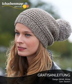 Grey knitted garter stitch hat with pom pon. Loom Knitting, Knitting Patterns Free, Free Knitting, Crochet World, Knit Crochet, Crochet Hats, Knit Mittens, Knitted Hats, Knit Headband Pattern