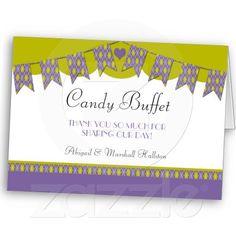 Purple Bunting Wedding Dessert Buffet Candy Table