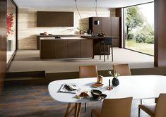 Modern - Kitchen - Design | Glass Matt Bronze Metallic | Tobacco Knotty Oak | Next 125 German Kitchens #germankitchens #kitchendesign #next125 #luxurykitchens