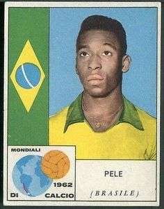 Pele of Brazil. 1962 World Cup Finals card. School Football, Football Cards, Football Players, Baseball Cards, Fifa, World Cup Final, African Diaspora, South America, Cups