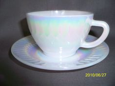 Vintage Federal Glass Moonglow Cup and Saucer by dedacedar on Etsy, $7.99