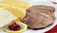 Sviečkovica na smotane | DobreJedlo.sk Steak, Cheese, Food, Essen, Steaks, Meals, Yemek, Eten