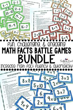 Mixed Math Facts Battle Game - Fun Game to Practice Math Facts Math Fact Battle is a super fun and Math Stations, Math Centers, Math Resources, Math Activities, Critical Thinking Activities, Math Fact Fluency, Whole Brain Teaching, Battle Games, Classroom Games