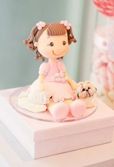 Cake Topper - Precious Pink Puppy Dog Party