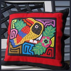 Pillow Cover Made With Parrot Mola Panel