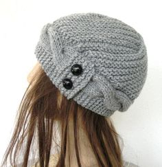 Hand Knit  Hat  Cloche Hat  in Silver Gray  Womens cable by Ebruk, $30.00