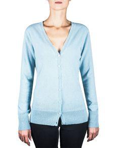 Damen Kaschmir Strickjacke Cardigan V-Ausschnitt hellblau front Elegant, Tops, Sweaters, Fashion, Light Blue, Jackets, Cast On Knitting, Classy, Moda
