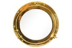 Brass Porthole-Style Mirror on OneKingsLane.com
