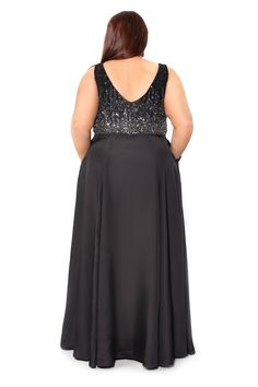 Kurves By Kimi Black/Silver Floor Length Plus Size V-Neck Dress 71128- $275