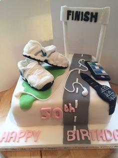 Running themed cake Sports Birthday Cakes, Boy 16th Birthday, Themed Birthday Cakes, Themed Cakes, Cakes For Men, Cakes And More, Cupcakes, Cupcake Cakes, Running Cake
