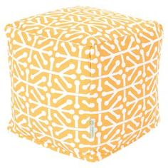 Square indoor/outdoor pouf in citrus with an arrows motif.   Product: PoufConstruction Material: Outdoor treated polyester cover, recycled polystyrene beads and waterproof denier baseColor: CitrusFeatures: Suitable for indoor and outdoor useZippered slipcoverMade in USADimensions: 16 H x 17 W x 17 DCleaning and Care: Machine wash cover warm, tumble dry low or air dry
