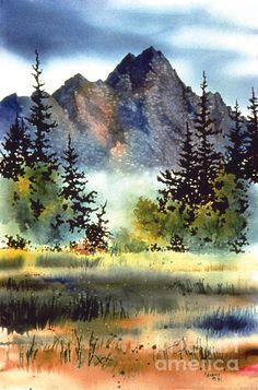Matanuska by Teresa Ascone on Fine Art America ~ prints starting @ $22 -  This impression depicts the mighty peaks in the Matanuska Valley in Alaska. Keywords: Matanuska, mountains, clouds, grassland, Matanuska Valley,... more by Teresa Ascone