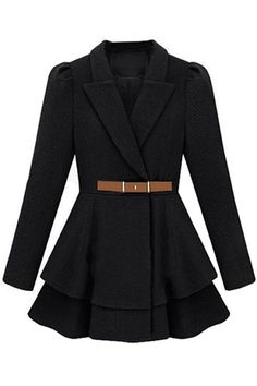 Description Puff Sleeve Black Coat ,featuring a wide-cut, notched lapel, a belted waist,long length sleeves with light puff detailing to the shoulders,double layer pleat hem, been cut with a classic shape and a longline style.  Fabric Woolen  W