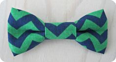 Bowtie in Navy and Green Chevron stripes, perfect for Easter or a nautical wedding!