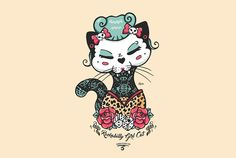 Rockabilly Cat Ganbatte Black Cat Rock Cat Illustration