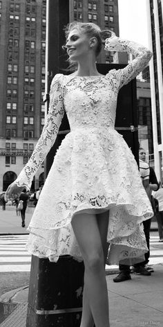 INBAL DROR #Bridal 2016  bateau neck long bell sleeve lace ball gown short high low #wedding dress style 02