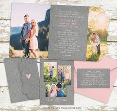 Damask Tri-fold Wedding Invitation - Boutique Tri Folded Design - Photo Wedding…