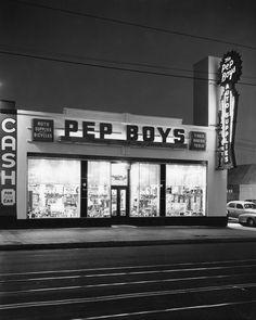Pep Boys auto parts store. 1940s.