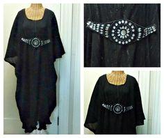 Black Metallic Caftan / Boho Chic Dress / Midi or Maxi / Long Kaftan / Swimsuit Cover Up / Womens Beach Spa One Size Cotton by SavoyFaireSpa on Etsy