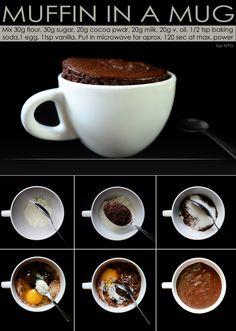 Muffin in a mug Muffin In A Mug, Baking Soda, Cocoa, Microwave, Vanilla, Sugar, Microwave Oven, Theobroma Cacao, Hot Chocolate