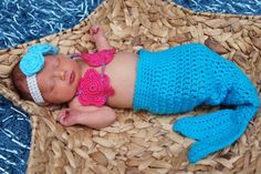 Crochet Mermaid TAIL ONLY Photo Prop 0-3 months on Etsy, $15.00