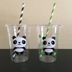 Panda party cups by DivineGlitters on Etsy