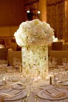 Submerged Orchids in cylinder vases Centerpiece