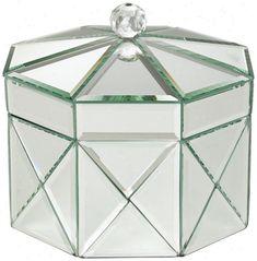 mirrored box   Octagonal Mirrored Jewelry Box (r9212)