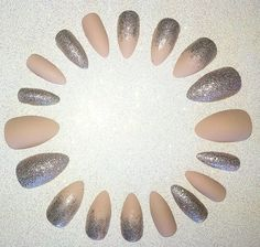 Matte Nude Stiletto Nail Set- Fake Nails- Press on Nails- Glue on Nails- Acrylic Nails- Artificial Nails- Glitter Nails- Matte Nails- Classy