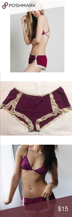 FREE PEOPLE INTIMATELY CHASING SHADOWS TAP SHORTS FREE PEOPLE INTIMATELY Chasing Shadows Tap Shorts   NEW without tags have been removed. Line through label to prevent returns.   Color: Wine (Black shown for demo purposes only)   Dotted Swiss undie with a low rise, sweet lace trim, and stretchy elastic waist. These little sleep shorts are perfect for lazy days, lounging around, and getting ready.  82% Polyester 18% Spandex Hand Wash Cold Free People Intimates & Sleepwear