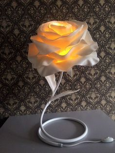 Tag your friends to see the amazing and special gift Flower Lamp, Paper Flower Decor, Crepe Paper Flowers, Paper Roses, Flower Crafts, Flower Decorations, Giant Paper Flowers, Clay Flowers, Diy Paper