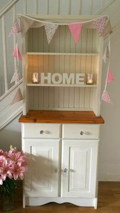 Pine kitchen dresser painted in annie sloan original with sanded and oiled top