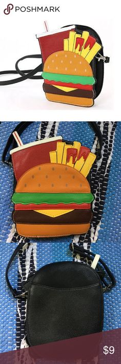Fun Hamburger cross body purse Fun Hamburger, fries, and drink cross body purse. Detachable and adjustable strap. Never used Bags Crossbody Bags