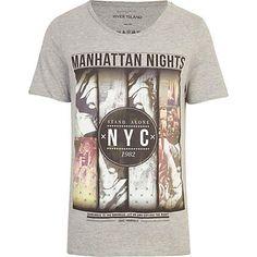 Grey Manhattan Nights print t-shirt £16.00