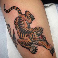 Calf Tattoo, Leg Tattoos, Black Tattoos, Body Art Tattoos, Sleeve Tattoos, Traditional Panther Tattoo, Traditional Tattoo Man, Traditional Tattoo Old School, Future Tattoos
