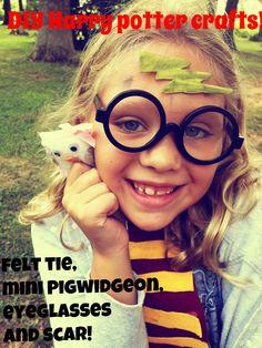 DIY Harry Potter kids crafts-felt tie, mini Ron Weasley Pigwidgeon, Harry Potter eyeglasses and lightning bolt scar-DIY Tutorial for Golden Snitch #harrypotter #harrypotterparty #harrypotterglasses #diyharrypottecraft
