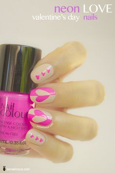 Valentine's day nails Neon Love – 28 Days of SoNailicious Nails