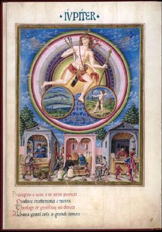 Iupiter - De Sphaera - Biblioteca Estense Pictured with arrows and bow. Jupiter, God and Planet