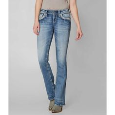 Rock Revival Jena Boot Stretch Jean - Blue 23/32 ($164) ❤ liked on Polyvore featuring jeans, blue, slim fit bootcut jeans, slim fit stretch jeans, blue jeans, stretch jeans and back flap pocket jeans
