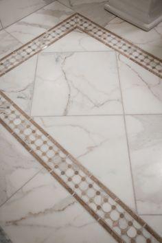 Tile Rug in Carrara marble tile. A very timeless look