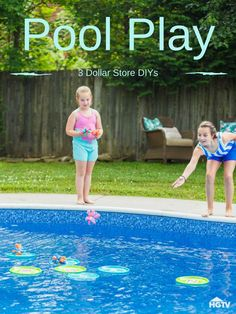 """Get Your Pool Party Poppin' With These Dollar Store Pool Game DIYs - - """"I'm bored"""" will be a thing of the past. Make a splash this summer with a few easy-to-craft pool games that are sure to liven things up! Pool Party Activities, Swimming Pool Games, Pool Party Games, Pool Party Kids, Pool Party Decorations, Summer Pool Party, Kid Pool, Water Party, Pool Party Crafts"""