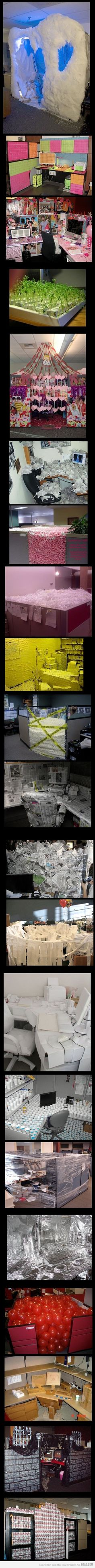 office pranks...would have loved to do this back in the day of cubicles with the IRS.  That would have been a hoot with the other agents!  Nerdy fun.