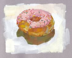 Sprinkle Donut, Toned Paper, Gouache, Sprinkles, Drawing Ideas, Drawings, Strawberry, Painting, Art