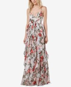 Fame and Partners Printed Ruffle Maxi Gown - Floral Print