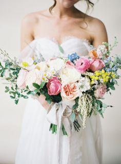 A garden bouquet: http://www.stylemepretty.com/2015/07/07/colorful-camarillo-private-estate-wedding/ | Photography: Michael Radford - http://www.michaelradfordphotography.com/